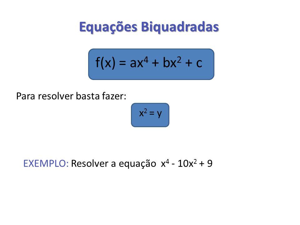 Equações Biquadradas f(x) = ax4 + bx2 + c x2 = y