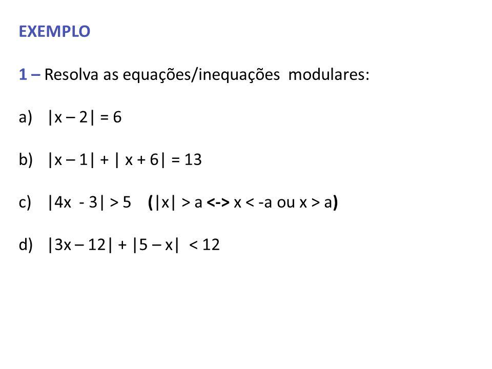 EXEMPLO 1 – Resolva as equações/inequações modulares: |x – 2| = 6. |x – 1| + | x + 6| = 13. |4x - 3| > 5 (|x| > a <-> x < -a ou x > a)