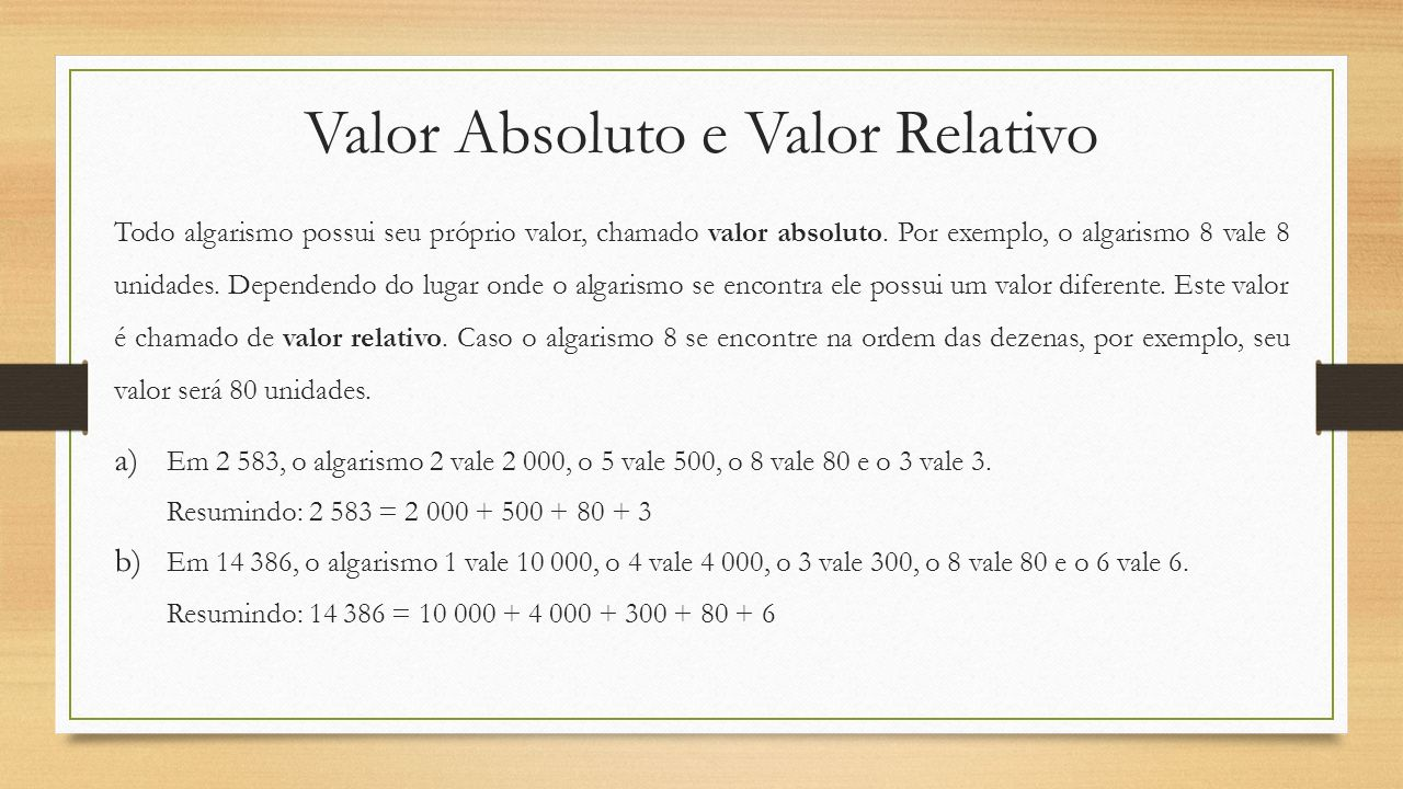 Valor Absoluto e Valor Relativo