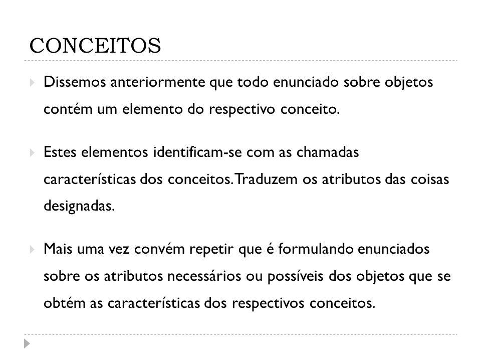 CONCEITOS Dissemos anteriormente que todo enunciado sobre objetos contém um elemento do respectivo conceito.
