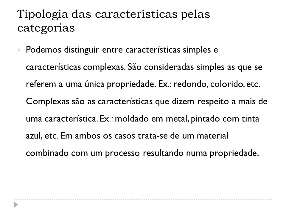Tipologia das características pelas categorias