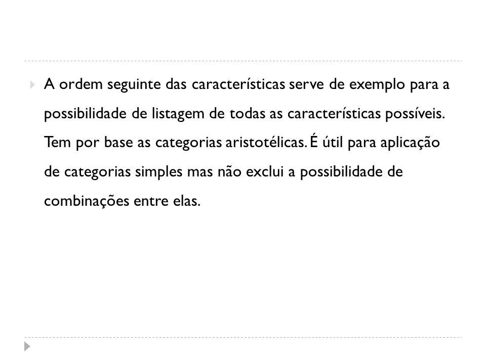 A ordem seguinte das características serve de exemplo para a possibilidade de listagem de todas as características possíveis.