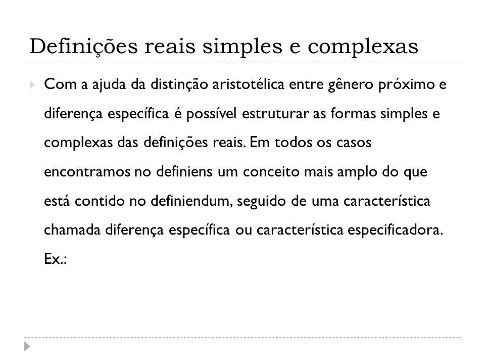 Definições reais simples e complexas