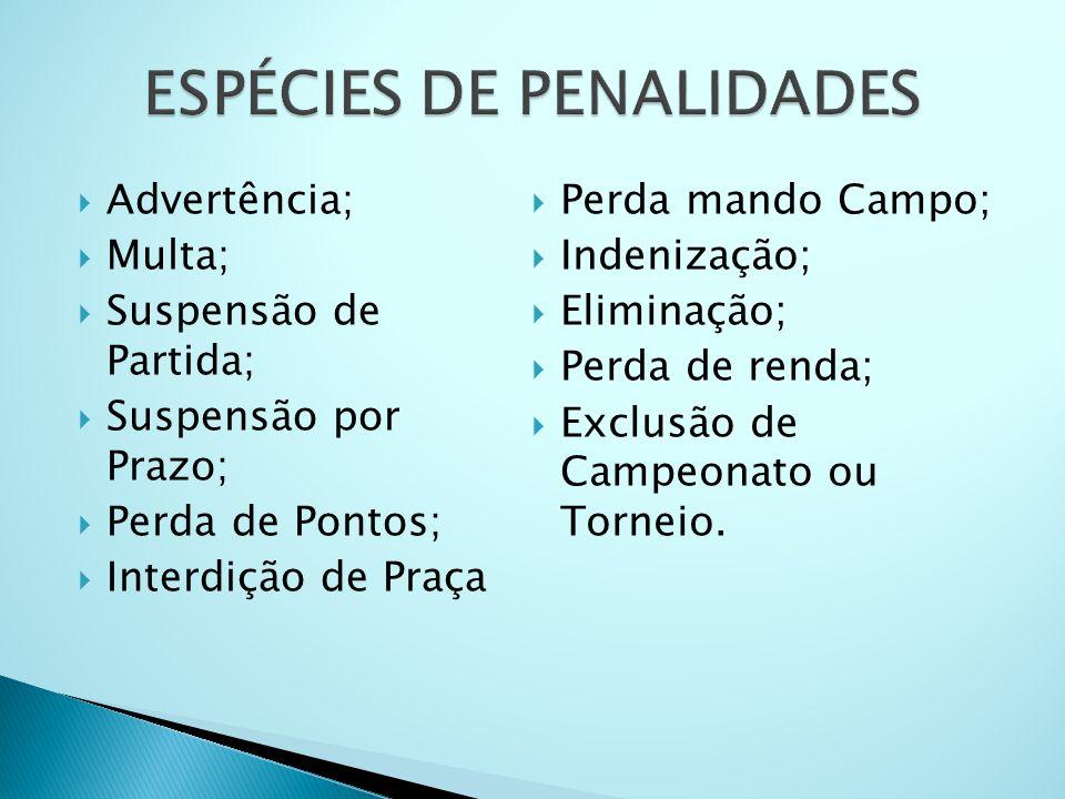 ESPÉCIES DE PENALIDADES