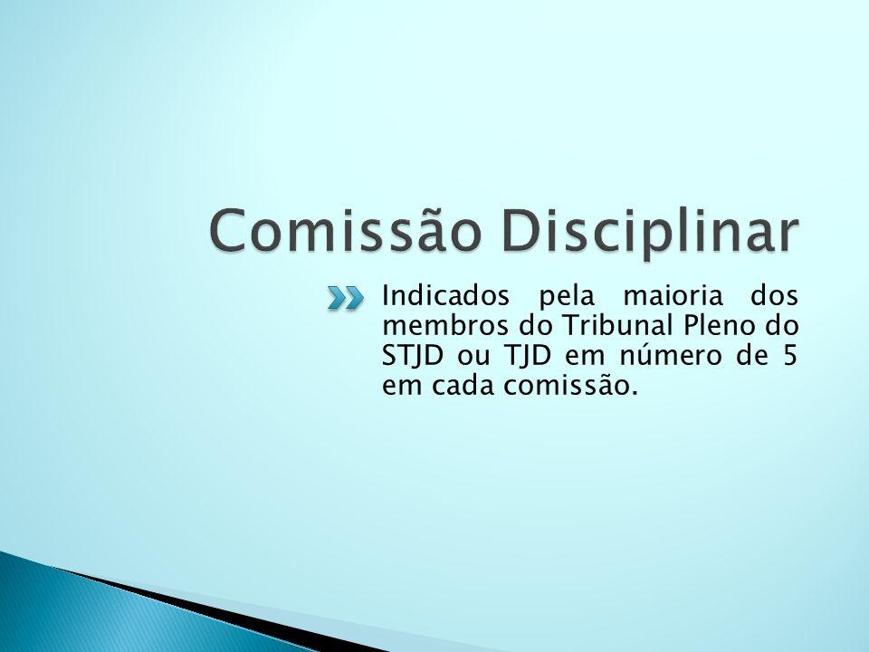 Comissão Disciplinar Indicados pela maioria dos membros do Tribunal Pleno do STJD ou TJD em número de 5 em cada comissão.