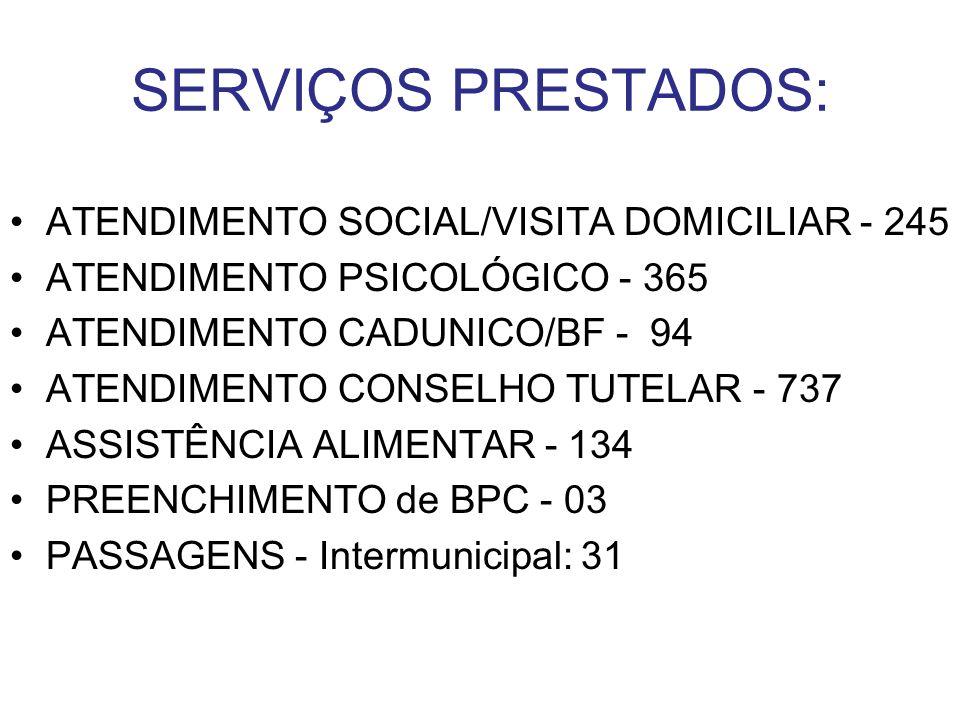 SERVIÇOS PRESTADOS: ATENDIMENTO SOCIAL/VISITA DOMICILIAR - 245