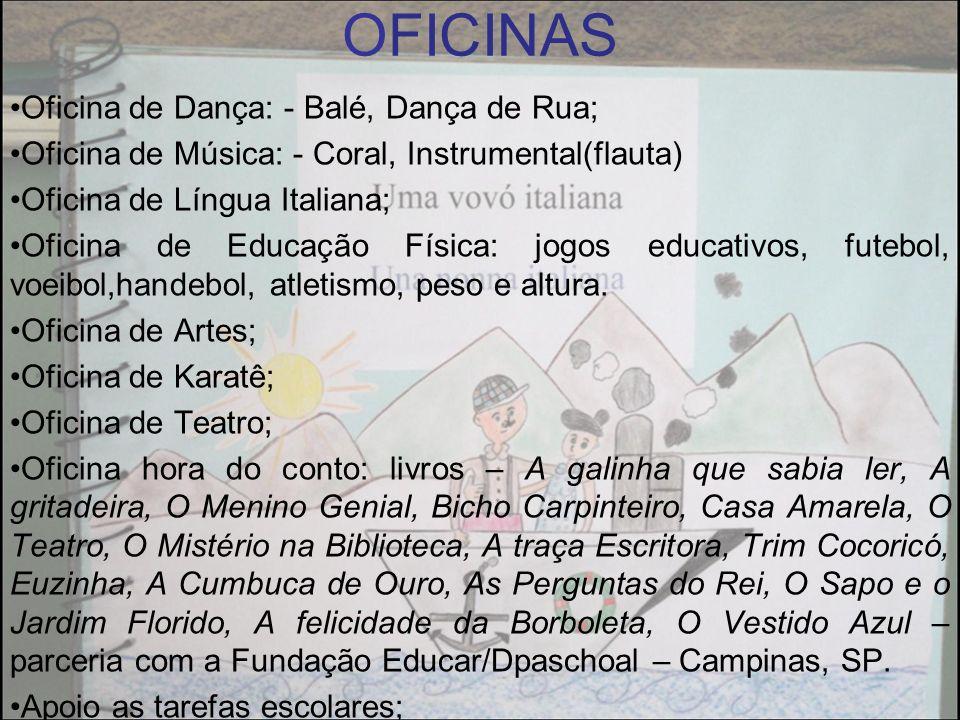 OFICINAS Oficina de Dança: - Balé, Dança de Rua;