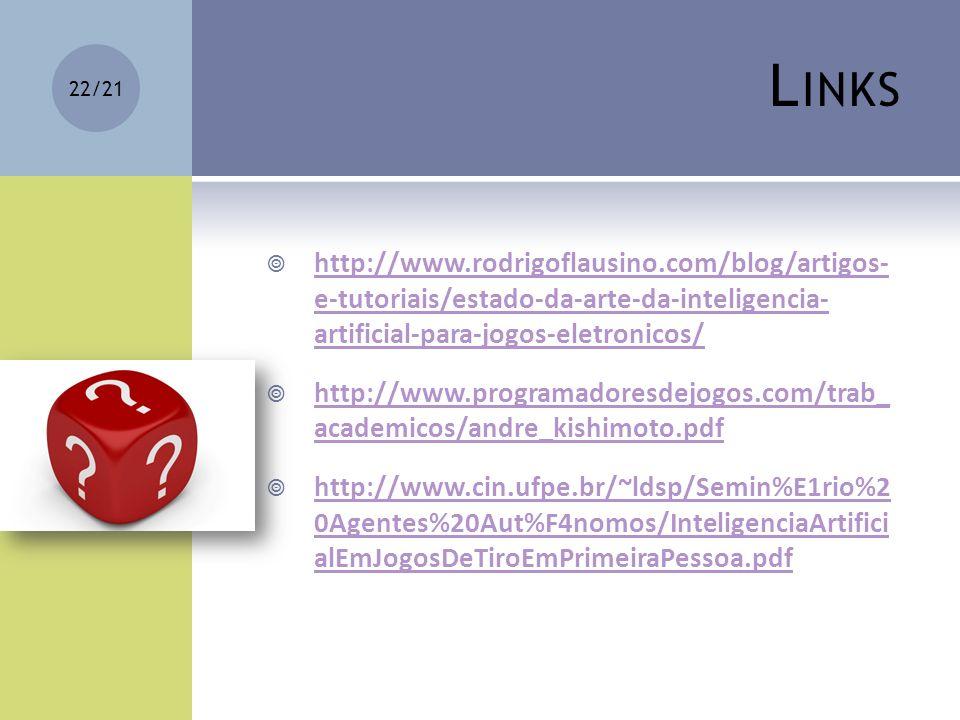 Links http://www.rodrigoflausino.com/blog/artigos- e-tutoriais/estado-da-arte-da-inteligencia- artificial-para-jogos-eletronicos/