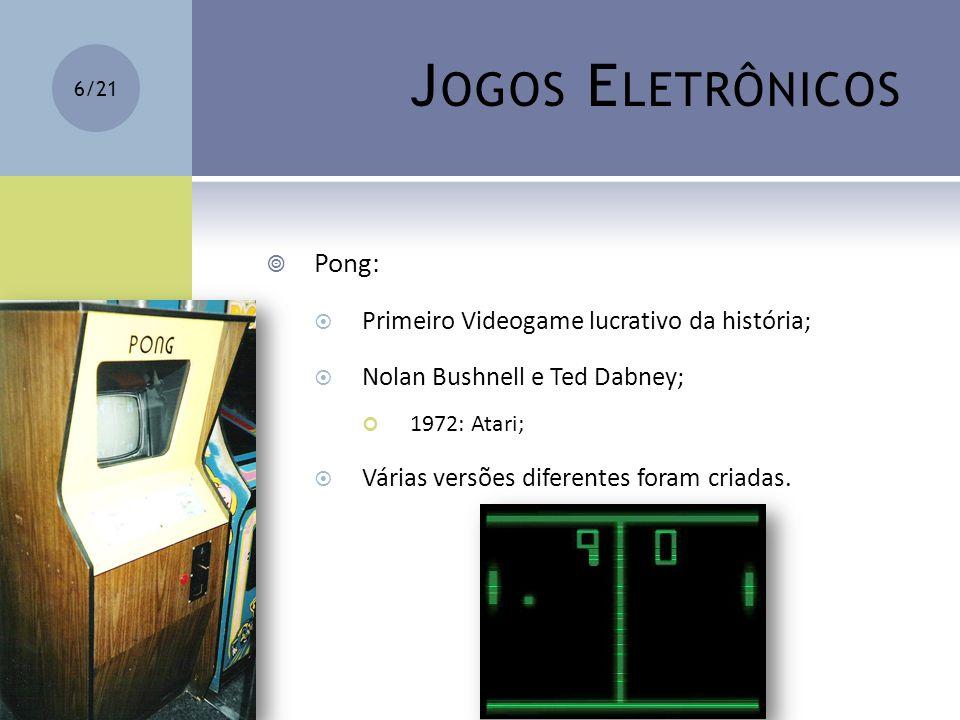 Jogos Eletrônicos Pong: Primeiro Videogame lucrativo da história;