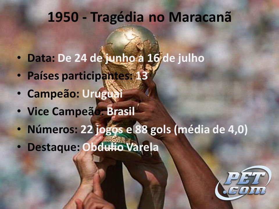 1950 - Tragédia no Maracanã Data: De 24 de junho a 16 de julho