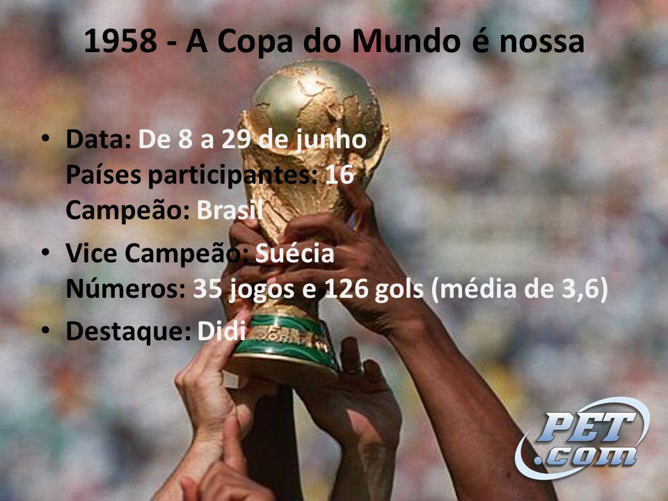 1958 - A Copa do Mundo é nossa Data: De 8 a 29 de junho Países participantes: 16 Campeão: Brasil.