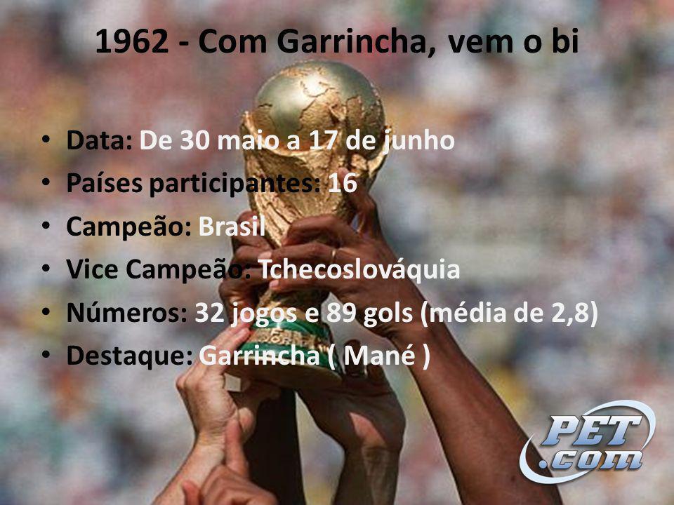 1962 - Com Garrincha, vem o bi Data: De 30 maio a 17 de junho