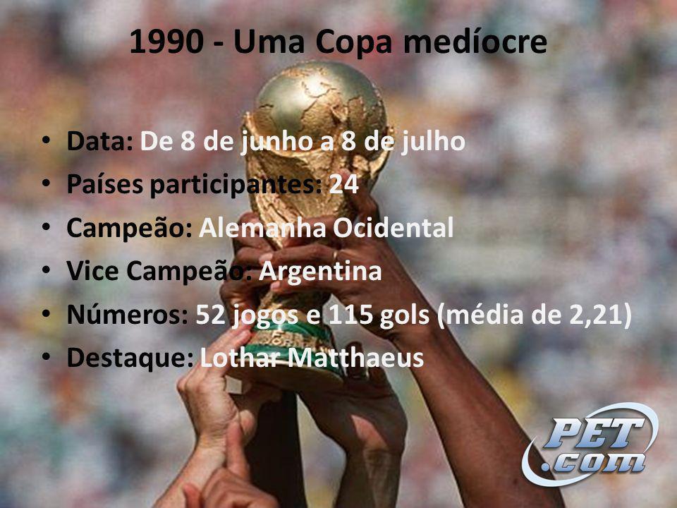 1990 - Uma Copa medíocre Data: De 8 de junho a 8 de julho