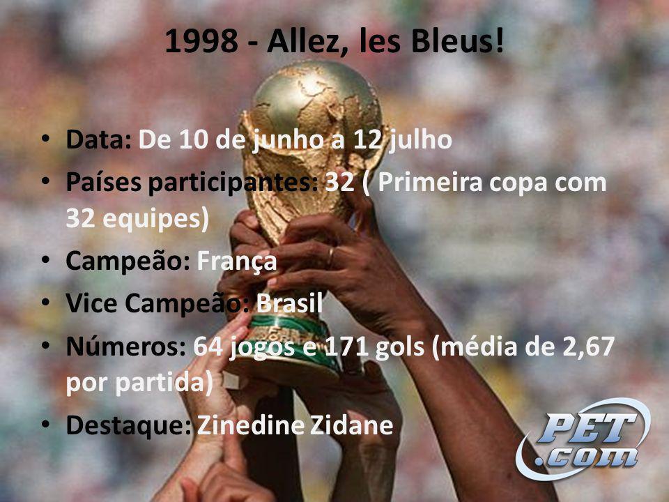 1998 - Allez, les Bleus! Data: De 10 de junho a 12 julho
