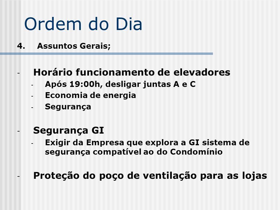 Ordem do Dia Horário funcionamento de elevadores Segurança GI