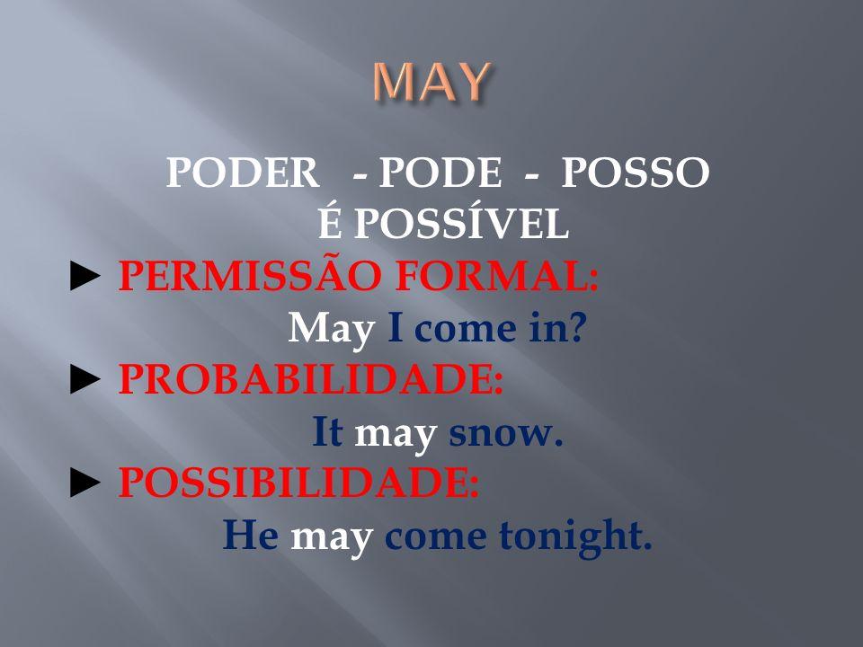 MAY PODER - PODE - POSSO É POSSÍVEL ► PERMISSÃO FORMAL: May I come in.