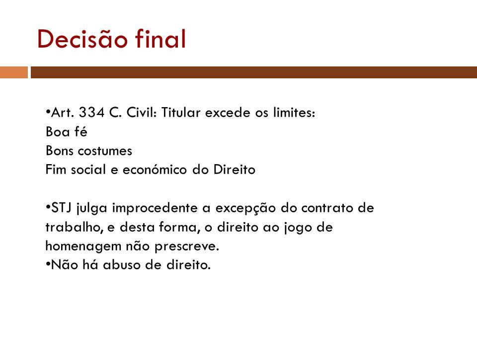 Decisão final Art. 334 C. Civil: Titular excede os limites: Boa fé