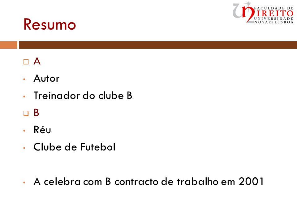 Resumo A Autor Treinador do clube B B Réu Clube de Futebol