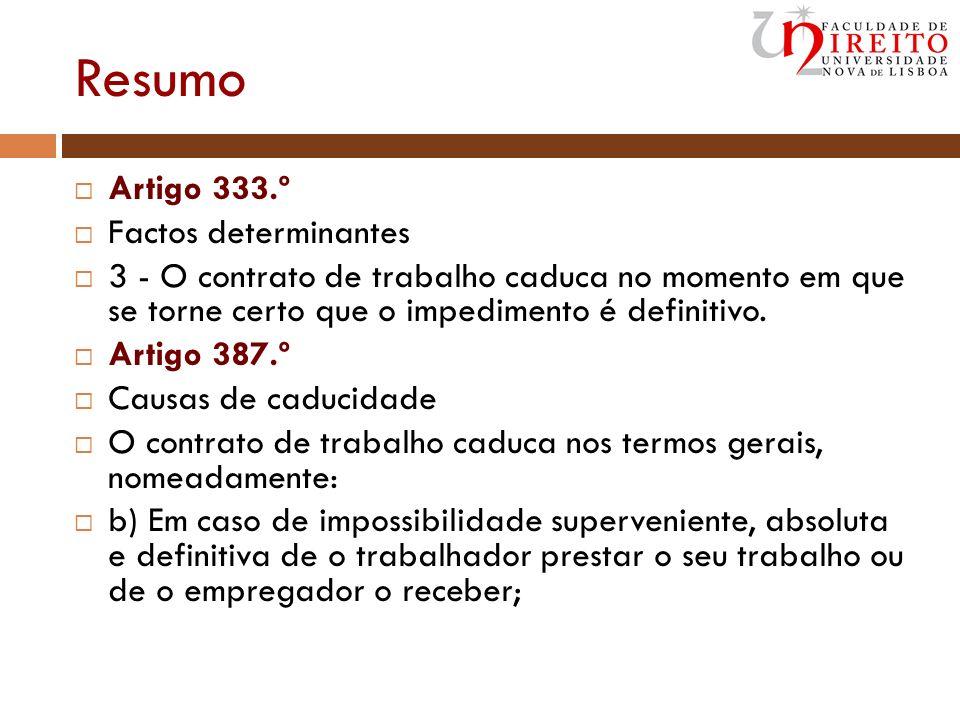 Resumo Artigo 333.º Factos determinantes