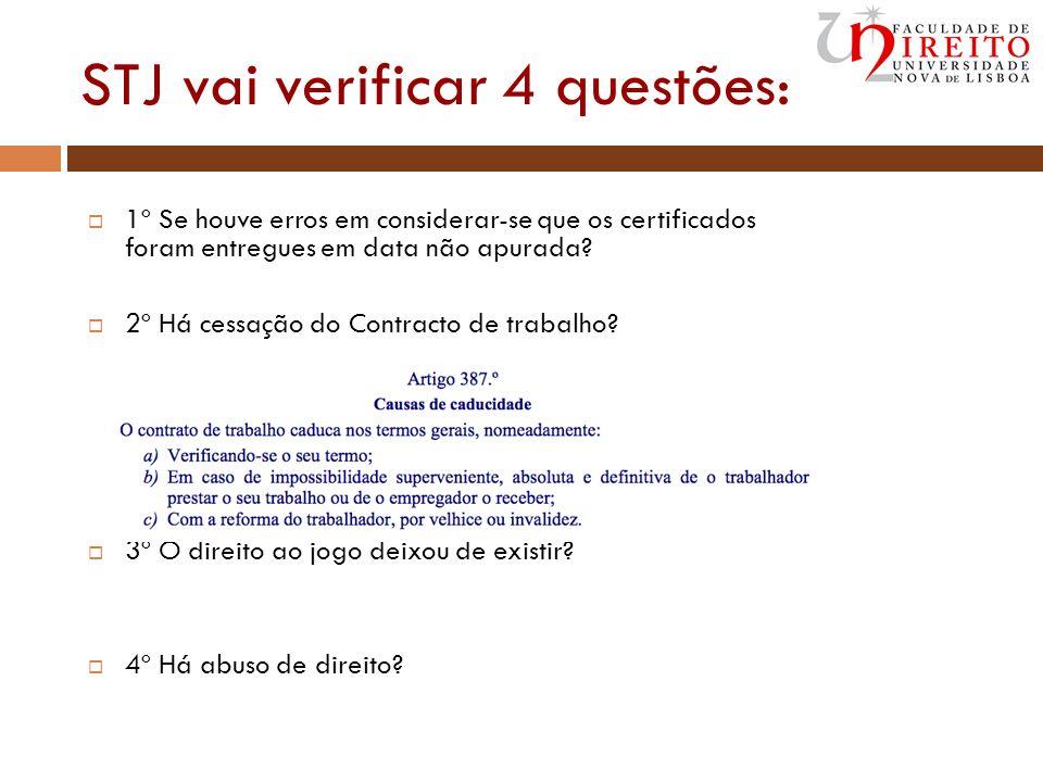 STJ vai verificar 4 questões: