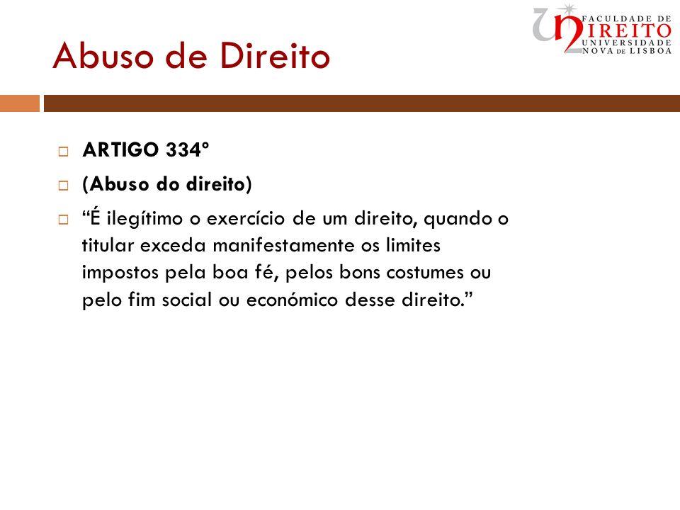 Abuso de Direito ARTIGO 334º (Abuso do direito)