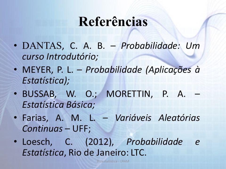 Referências DANTAS, C. A. B. – Probabilidade: Um curso Introdutório;