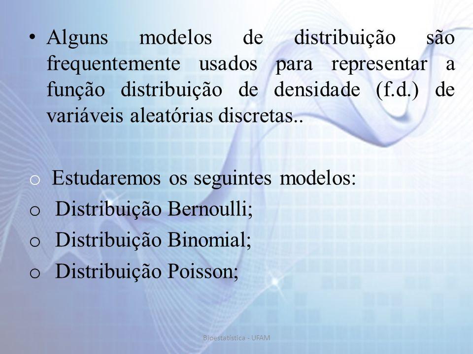 Estudaremos os seguintes modelos: Distribuição Bernoulli;