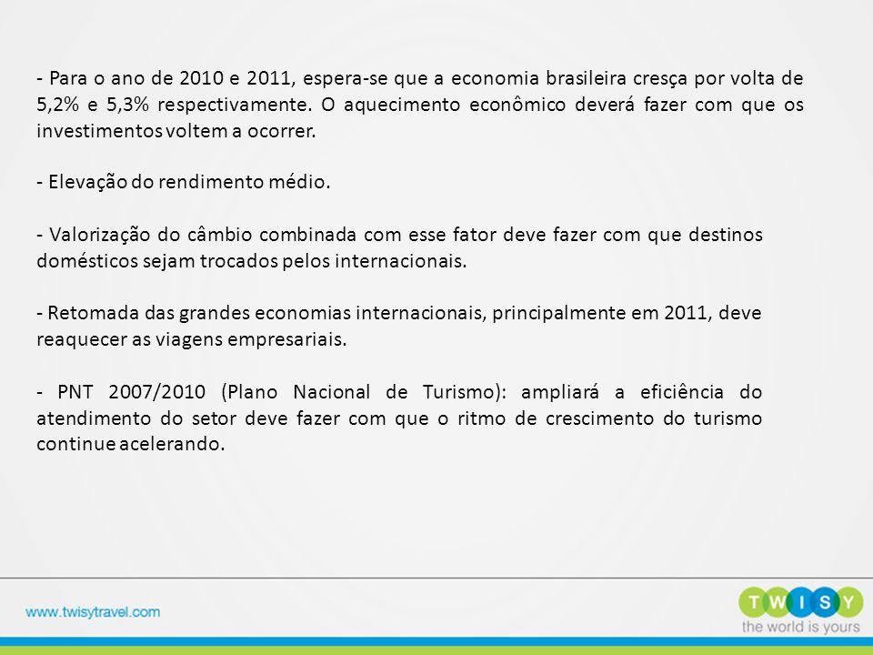 - Para o ano de 2010 e 2011, espera-se que a economia brasileira cresça por volta de 5,2% e 5,3% respectivamente. O aquecimento econômico deverá fazer com que os investimentos voltem a ocorrer.