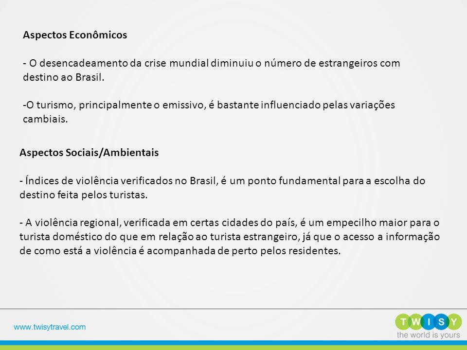 Aspectos Econômicos - O desencadeamento da crise mundial diminuiu o número de estrangeiros com destino ao Brasil.