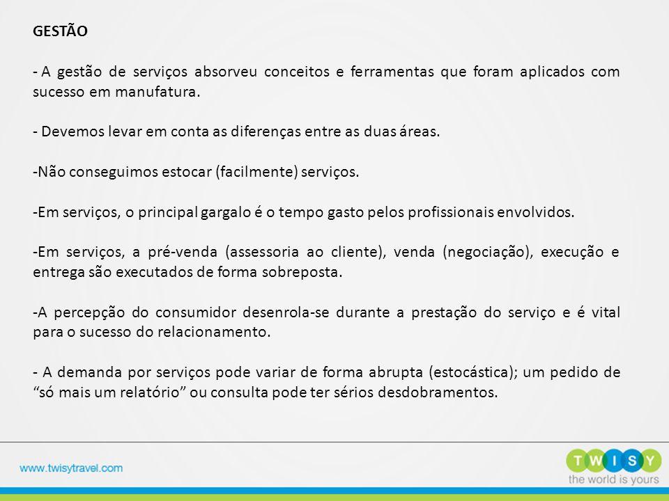 GESTÃO A gestão de serviços absorveu conceitos e ferramentas que foram aplicados com sucesso em manufatura.