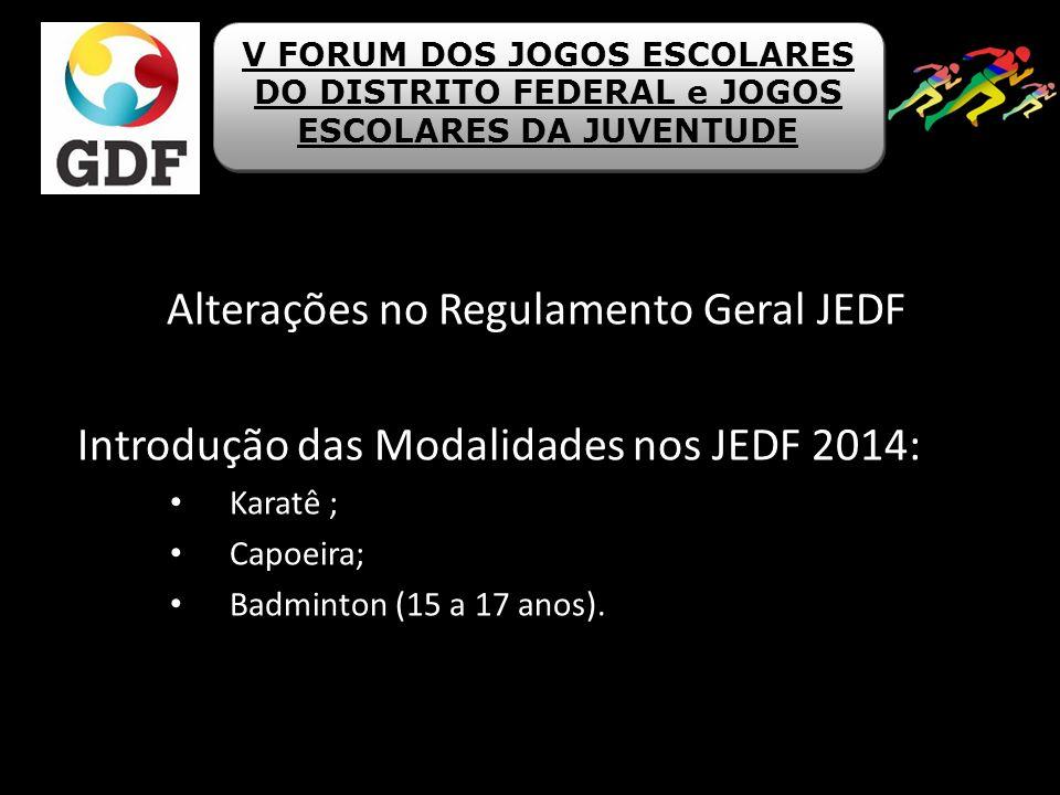 Alterações no Regulamento Geral JEDF