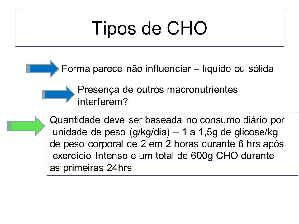 Tipos de CHO Forma parece não influenciar – líquido ou sólida