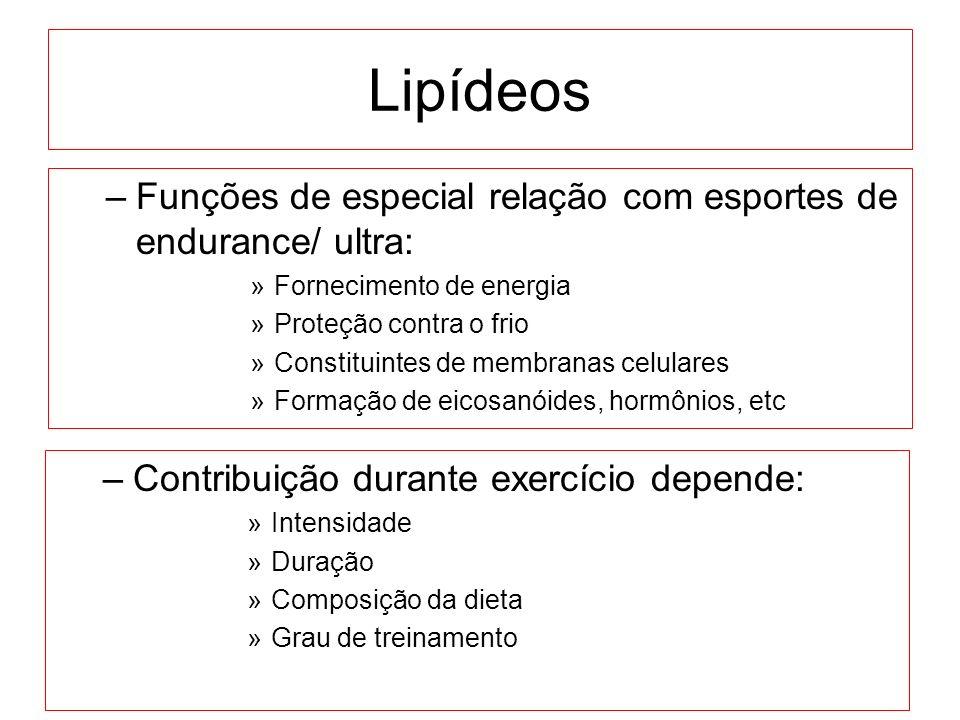 Lipídeos Funções de especial relação com esportes de endurance/ ultra: