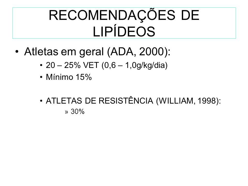 RECOMENDAÇÕES DE LIPÍDEOS