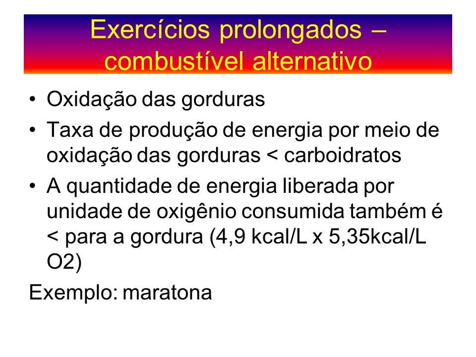 Exercícios prolongados – combustível alternativo