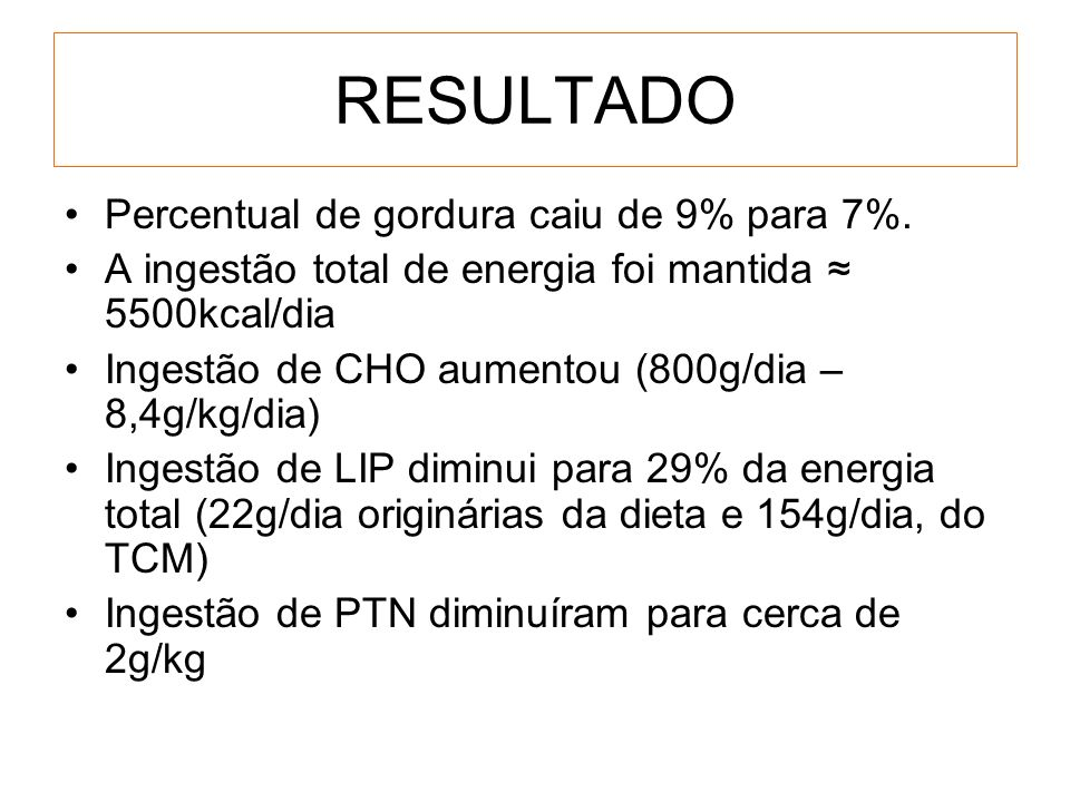 RESULTADO Percentual de gordura caiu de 9% para 7%.