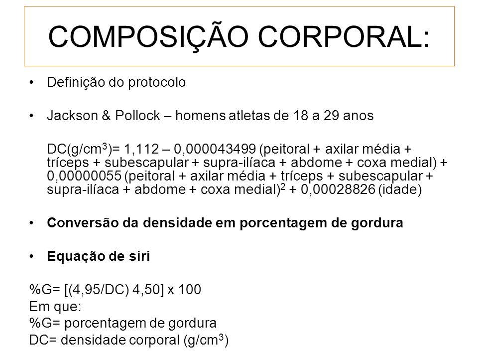 COMPOSIÇÃO CORPORAL: Definição do protocolo