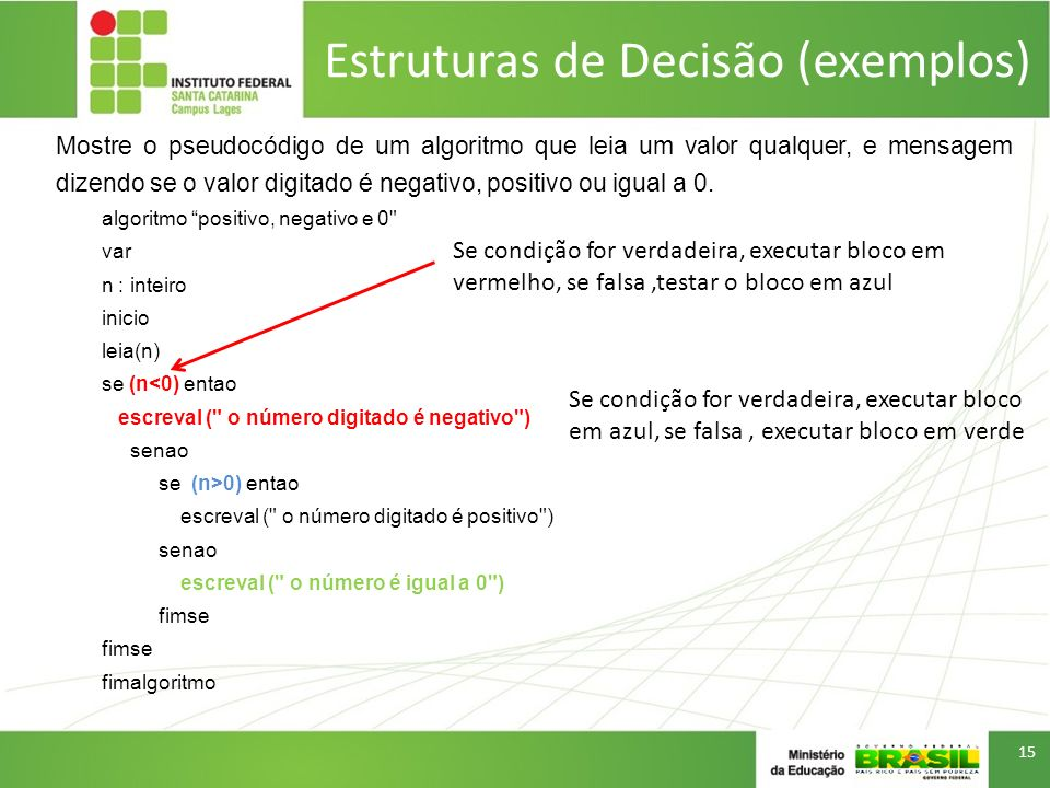 Estruturas de Decisão (exemplos)