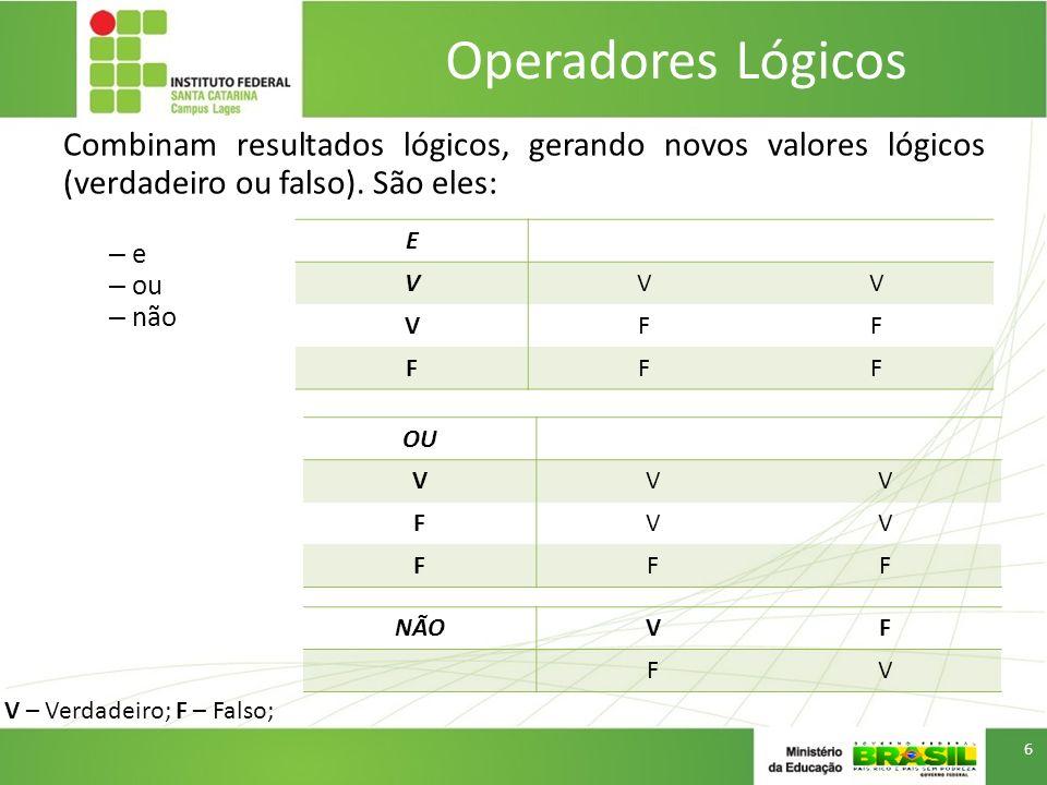 Operadores Lógicos Combinam resultados lógicos, gerando novos valores lógicos (verdadeiro ou falso). São eles:
