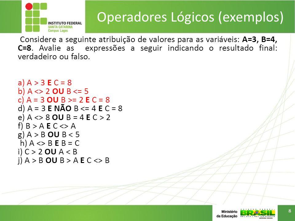 Operadores Lógicos (exemplos)