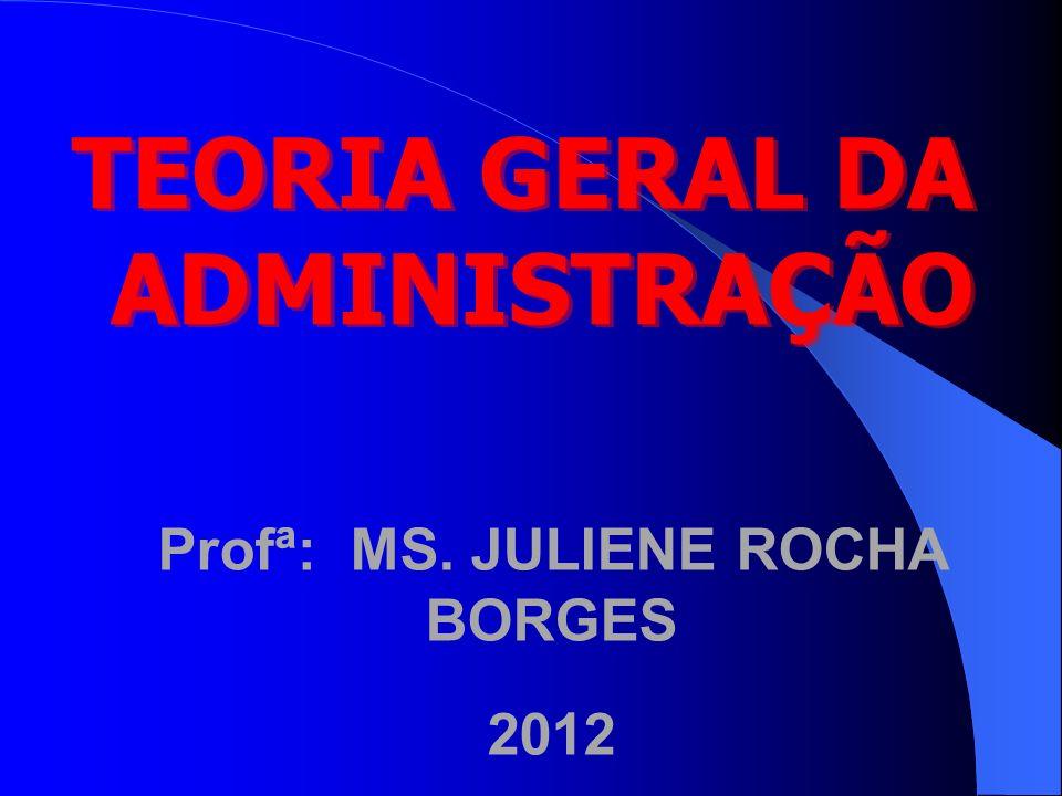 TEORIA GERAL DA ADMINISTRAÇÃO Profª: MS. JULIENE ROCHA BORGES