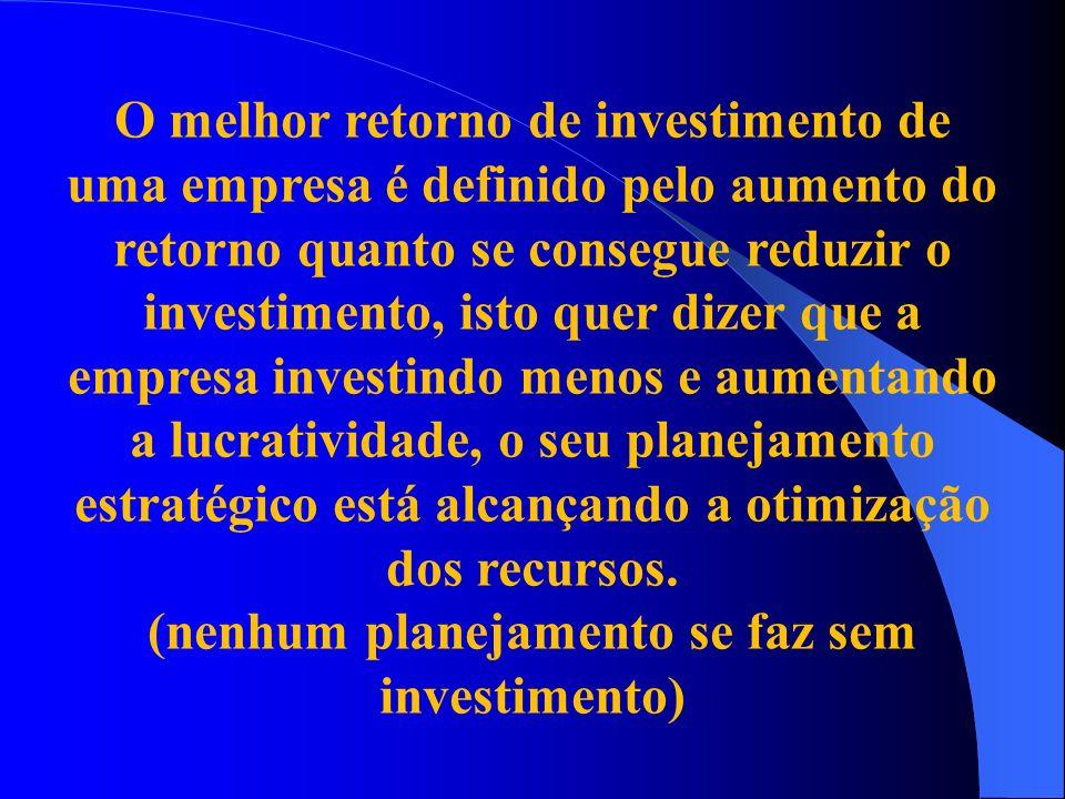 (nenhum planejamento se faz sem investimento)