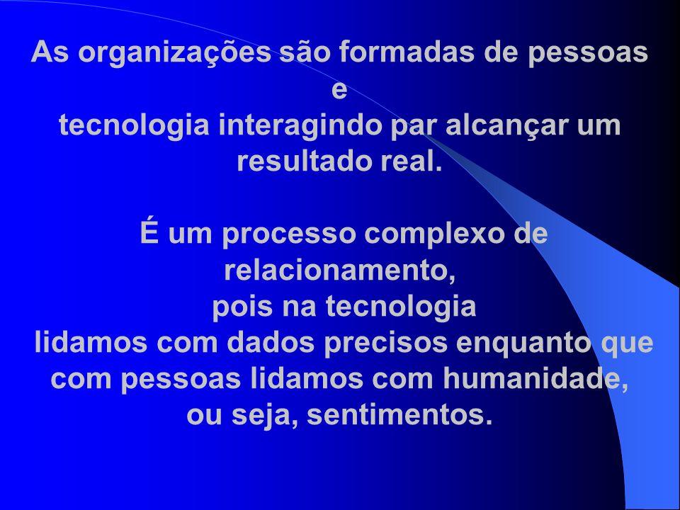 As organizações são formadas de pessoas e