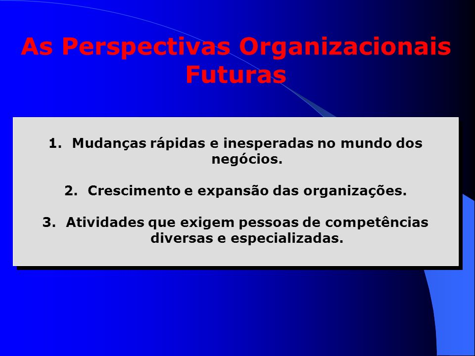 As Perspectivas Organizacionais Futuras