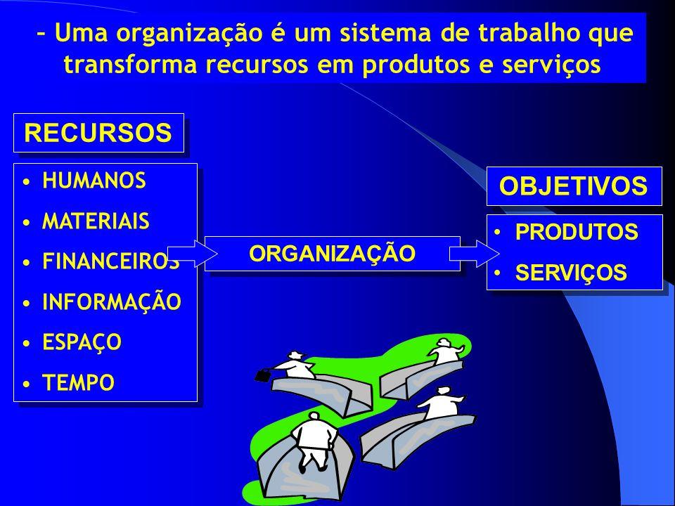 RECURSOS OBJETIVOS HUMANOS MATERIAIS FINANCEIROS PRODUTOS INFORMAÇÃO