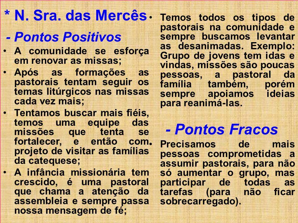 * N. Sra. das Mercês - Pontos Fracos
