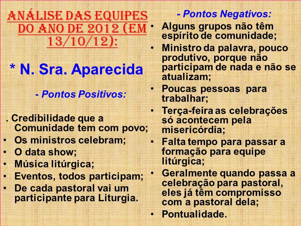 ANÁLISE DAS EQUIPES DO ANO DE 2012 (Em 13/10/12):