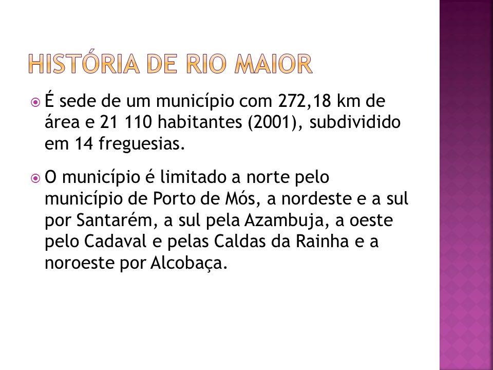história de rio maior É sede de um município com 272,18 km de área e 21 110 habitantes (2001), subdividido em 14 freguesias.