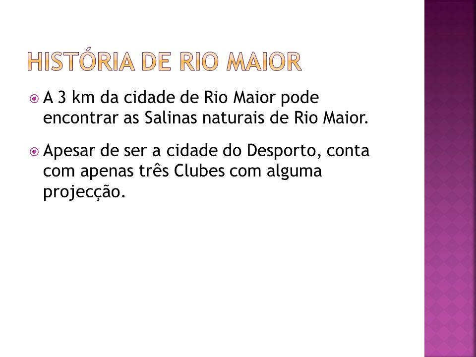 história de rio maior A 3 km da cidade de Rio Maior pode encontrar as Salinas naturais de Rio Maior.