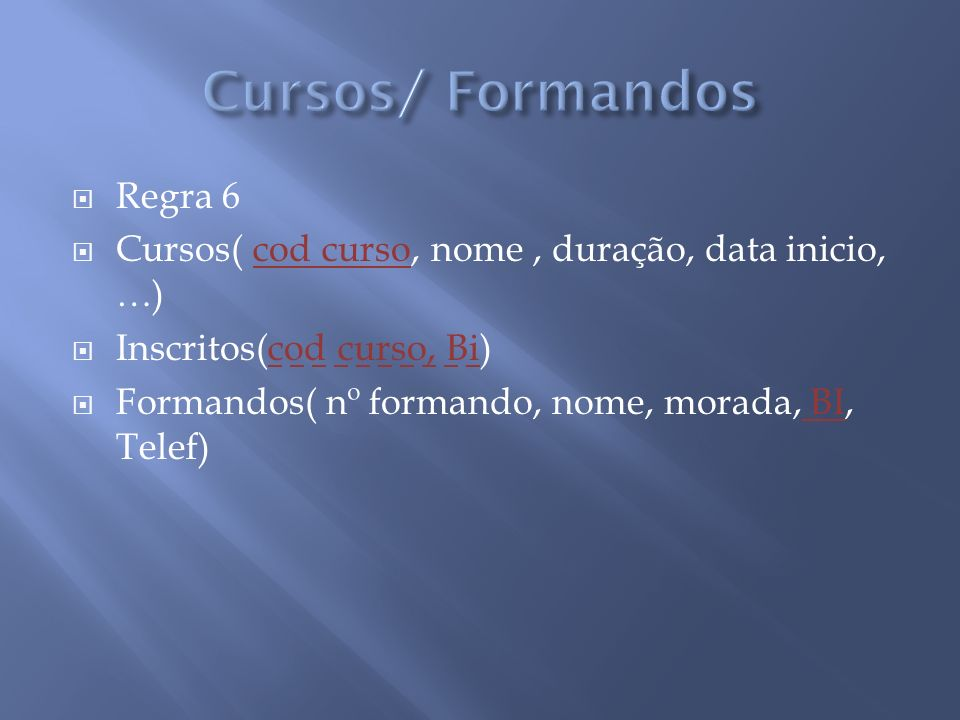 Cursos/ Formandos Regra 6